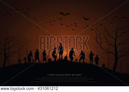 Crowd Of Hungry Zombies In The Woods. Silhouettes Of Scary Zombies Walking In The Forest At Night. S