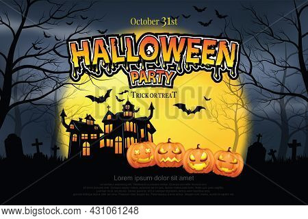Haunted Castle And Four-headed Ghost Pumpkin On Grass Scary Misty Forest In The Night Of The Full Mo