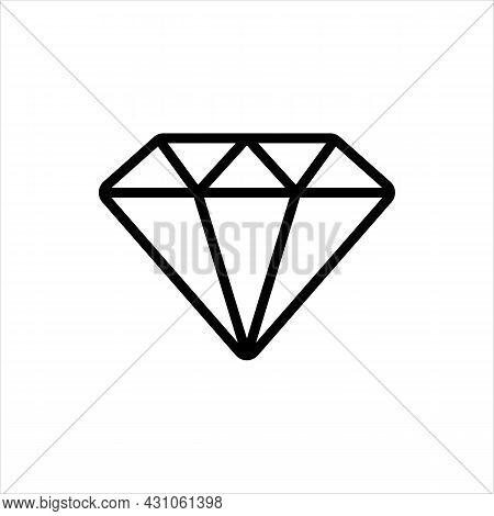 Pixel Perfect Black Thin Line Icon Of A Diamond Stone. Editable Stroke Vector 64x64 Pixels. Scale 50