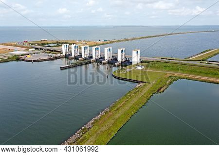 Aerial from the Houtrib sluices near Lelystad in the Netherlands