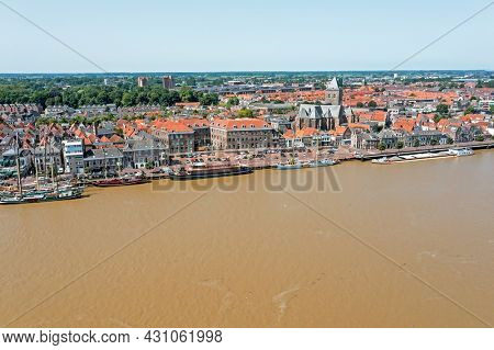 Aerial from the city Kampen at the river IJssel in the Netherlands
