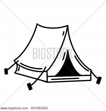 Camping Tent Vector Icon. Assembled Canvas Tent On A White Background. Hand-drawn Doodle. Sketch Of
