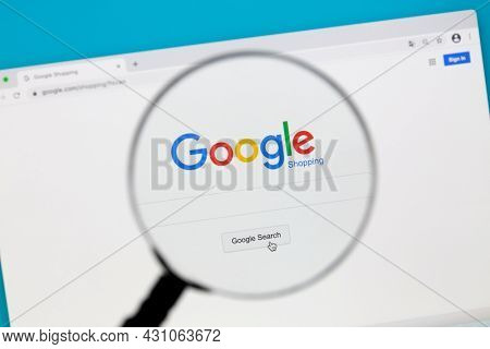 Ostersund, Sweden - Feb 15, 2021: Google Shopping website.  Google shopping allows users to search for products on websites and compare prices between different vendors.