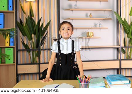 Young Schoolgirl In The Class. Portrait Of A Girl In A School Uniform With Notebooks In Her Hands. T