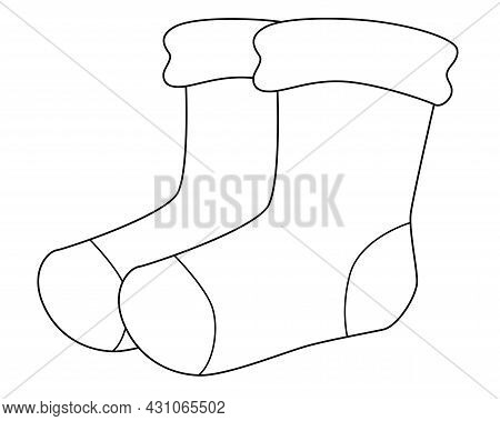 Socks. Pair Of Socks - Vector Linear Illustration With Clothes For Coloring. Outline. Stockings - Li
