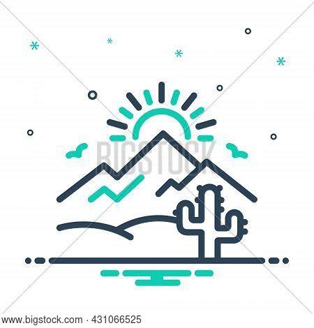 Mix Icon For Desert Sands  Sandbar Cactus Wilderness Barren Infertile Natural Sun