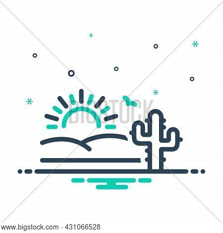 Mix Icon For Desert Sands  Sandbar Cactus Wilderness Barren Infertile Natural