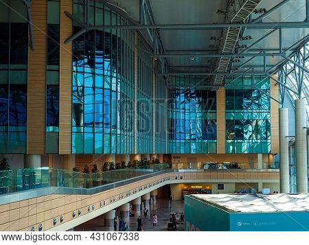 Moscow, Russia - May 26, 2021: Inside Domodedovo Airport