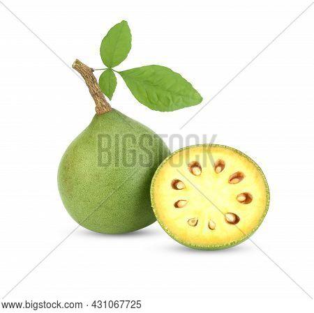 Bael Fruits,limonia,feronia Limonia  Isolated  On White Background
