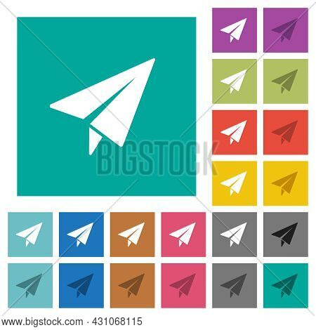 Paper Plane Multi Colored Flat Icons On Plain Square Backgrounds. Included White And Darker Icon Var