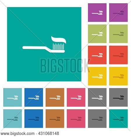 Toothbrush With Toothpaste Multi Colored Flat Icons On Plain Square Backgrounds. Included White And