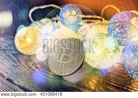 Technical Graph Of Bitcoin In Futuristic Concept . Golden Bitcoins Standing On Circuit Board, Crypto