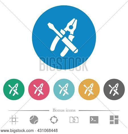 Combined Pliers And Screwdriver Flat White Icons On Round Color Backgrounds. 6 Bonus Icons Included.
