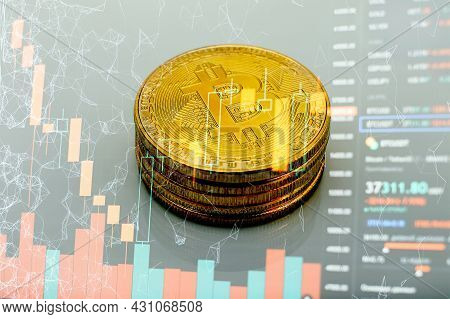 Bitcoins Coins Isolated On Motherboard Background. Crypto Currency, Bitcoin. Btc, Bit Coin. Blockcha