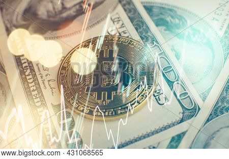Bitcoin Cryptocurrency Coins . Crypto Currency Gold Bitcoin, Btc, Bit Coin. Macro Shot Of Bitcoin Co