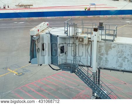 Moscow, Russia - May 26, 2021: Telescopic Gangway For Connecting The Aircraft With The Airport Build