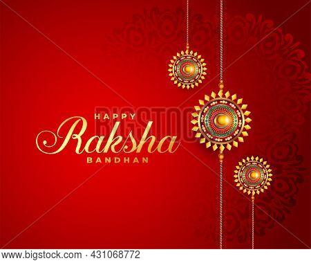 Raksha Bandhan Red Festival Greeting Design Vector Illustration