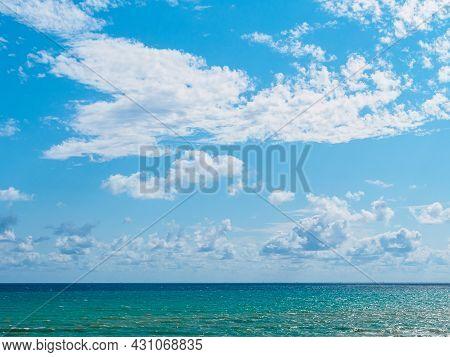 Horizontal Shot: Beautiful Blue Cloudy Sky And Sea