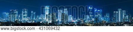 Tel Aviv Skyline At Night,  Tel Aviv Cityscape,  Israel