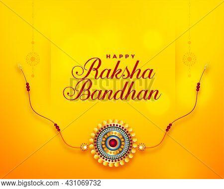 Happy Raksha Bandhan Yellow Greeting Card Design Vector Illustration