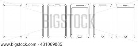 Set Of Outline Smartphone. Mobile Phone In Line Art Style. Vector