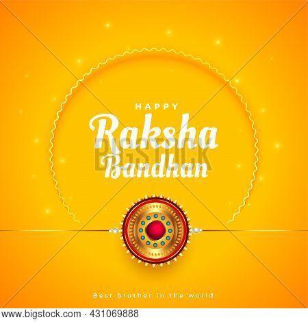 Raksha Bandhan Traditional Yellow Greeting Design Vector Illustration
