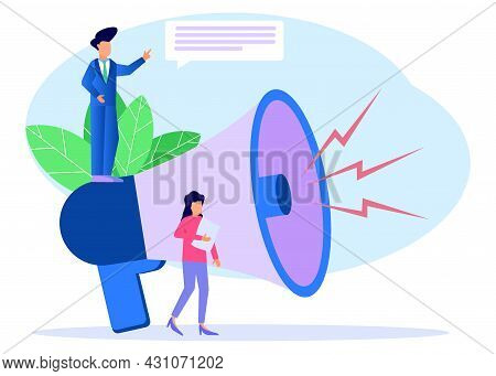 Vector Illustration, Business People Use Big Loudspeaker To Communicate With Audience. Pr Agency Tea