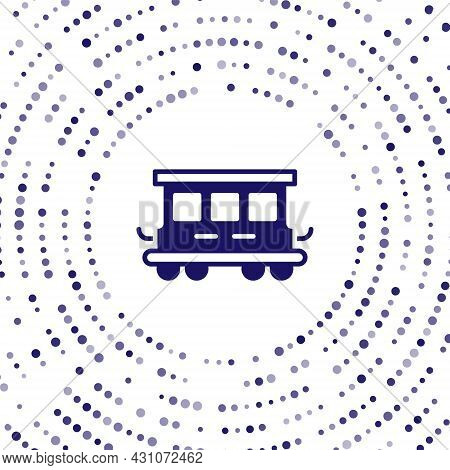 Blue Passenger Train Cars Toy Icon Isolated On White Background. Railway Carriage. Abstract Circle R