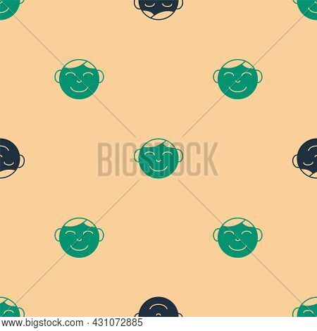 Green And Black Happy Little Boy Head Icon Isolated Seamless Pattern On Beige Background. Face Of Ba