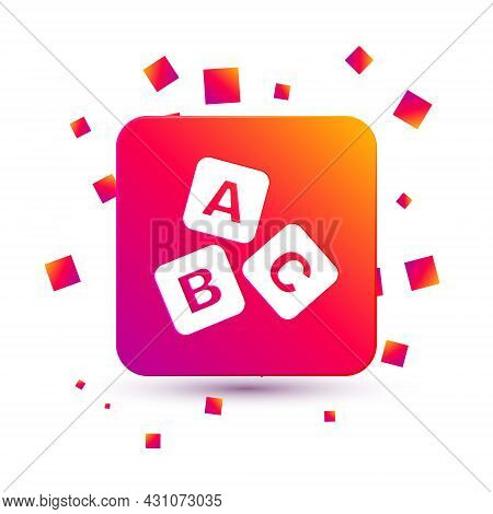 White Abc Blocks Icon Isolated On White Background. Alphabet Cubes With Letters A, B, C. Square Colo