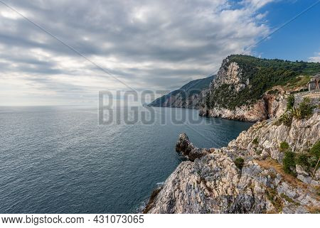 Coast Of The Cinque Terre National Park Seen From The Porto Venere Or Portovenere Town With Cliffs A