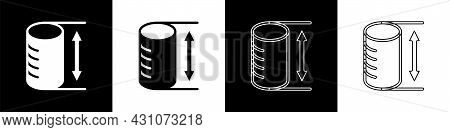 Set Height Geometrical Figure Icon Isolated On Black And White Background. Abstract Shape. Geometric