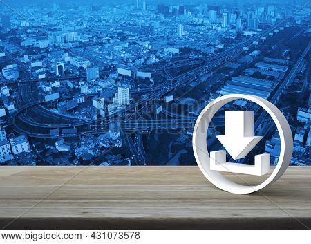 Download 3d Icon On Wooden Table Over Modern City Tower, Street, Expressway And Skyscraper, Technolo