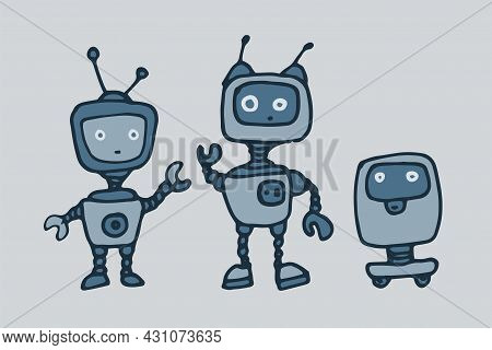Vector Set Of Robots In Flat Style. Hand-drawn Cartoon Robots In Doodle Style, With Hands And On Whe