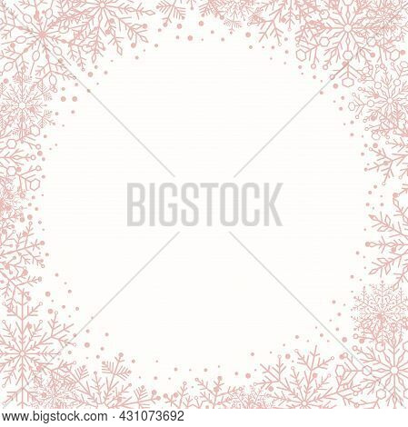 Winter Pink Frame With Arabesques And Snowflakes. Fine Greeting Card. Pattern With Snowflakes