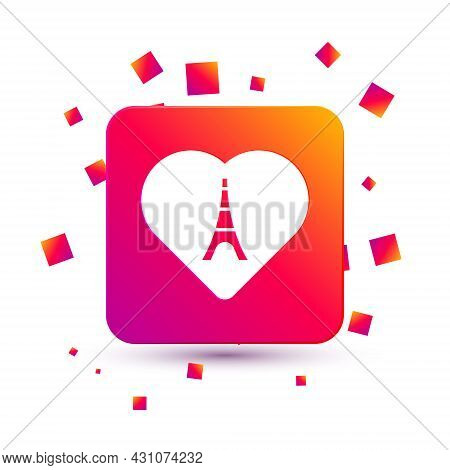 White Eiffel Tower With Heart Icon Isolated On White Background. France Paris Landmark Symbol. Squar