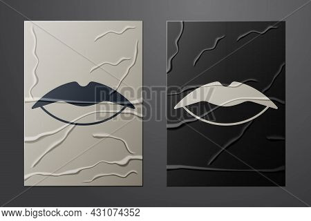 White Smiling Lips Icon Isolated On Crumpled Paper Background. Smile Symbol. Paper Art Style. Vector