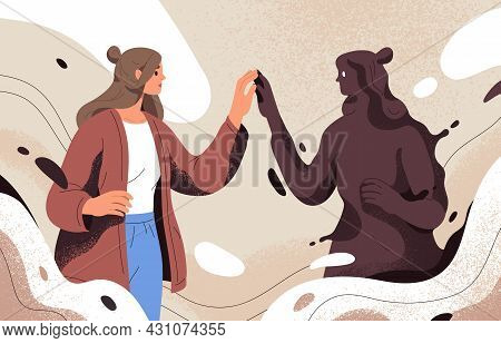 Psychology Concept Of Finding And Meeting Shadow Personality, Unconscious Side Of Self. Person Disco