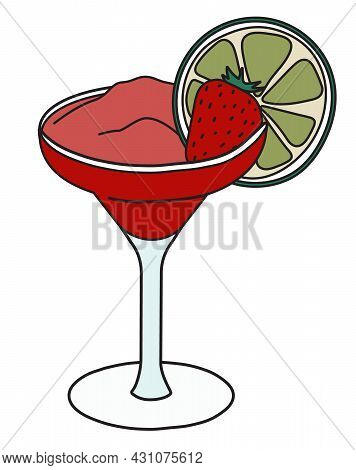 Stylish Hand-drawn Doodle Cartoon Style Frozen Red Daiquiri Cocktail In Margarita Glass Garnished Wi