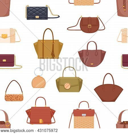 Seamless Fashion Pattern With Women Hand Bags Of Different Shape, Color And Design. Repeatable Backg