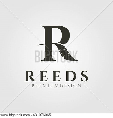 Nature Reeds Cattail Letter R Logo Vector Symbol Illustration Design, Creative R Logo Design