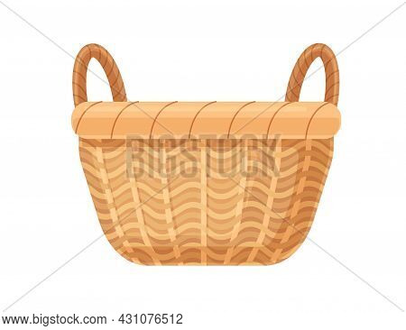 Empty Straw Basket With Two Handles. Realistic Traditional Wicker. Woven Basketwork. Bamboo Basketry