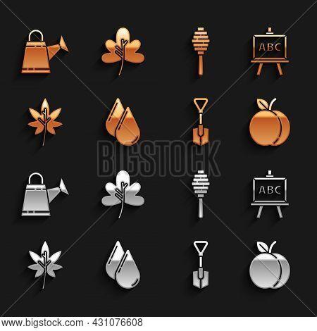 Set Water Drop, Chalkboard, Peach Fruit, Shovel, Leaf Or Leaves, Honey Dipper Stick, Watering Can An