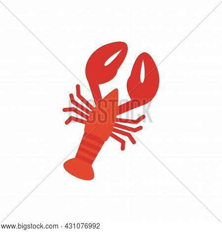 Crayfish Crawfish Lobster Omar Icon. Isolated Flat Color Icon. Vector Illustration. Meat Products Fi
