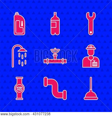 Set Industry Pipe And Valve, Metallic, Rubber Plunger, Plumber, Water Meter, Shower, Wrench Spanner
