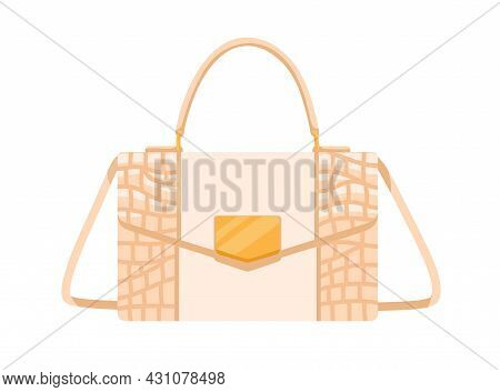 Fashion Women Flap Handbag With Gold Buckle, Handle And Strap. Modern Shoulder Bag From Smooth And T