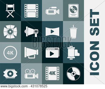 Set Cd Or Dvd Disk, Camera Vintage Film Roll Cartridge, Paper Glass With Water, Cinema Camera, Megap