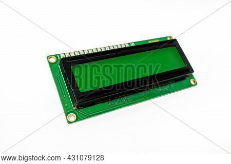 Side View Onto Single Liquid Crystal Display (lcd) On White Background