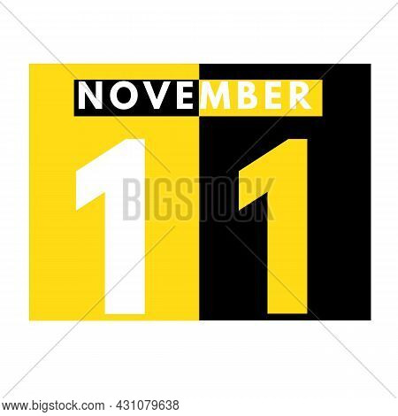 November 11 . Modern Daily Calendar Icon .date ,day, Month .calendar For The Month Of November