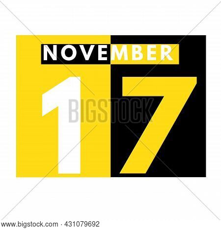 November 17 . Modern Daily Calendar Icon .date ,day, Month .calendar For The Month Of November